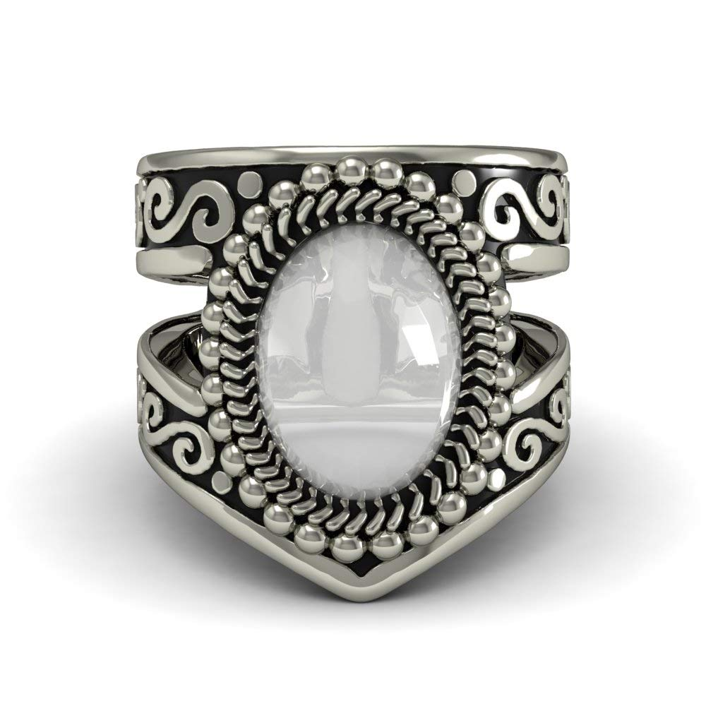 EVBEA Moonstone Ring Vintage Native American Navajo Jewelry Statement Silver Color Band Ring for Women