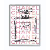 Stupell Industries Glam Perfume Bottle with Words Pink Black Grey Framed Wall Art, 11 x 14, Design by Artist Amanda Greenwood