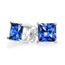 2CT Square Cubic Zirconia Brilliant Princess Cut AAA CZ Stud Earrings For Women 925 Sterling Silver More Colors