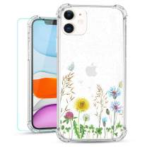 Ruky iPhone 11 Case Clear with Design, Wildflower Floral Flowers Glitter Design with Screen Protector Ultra-Thin Soft TPU Protective Girls Women Cover Phone Case for iPhone 11 6.1 inches (Wildflower)