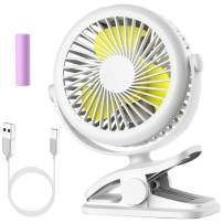 Stroller Fan, Cambond Clip on Battery Operated Fan, Personal Fan for Baby Stroller, Rechargeable 2200mAh Battery, 3 Adjustable Speeds for Baby Girl Carseat Office Travel Camping, White