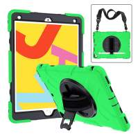 New iPad 10.2 Case with Pencil Holder, CASZONE Heavy Duty Shockproof Rugged Protective Covers for iPad 7th Generation 2019 10.2 inch with 360 Rotating Kickstand Adjustable Hand/Shoulder Strap, Green