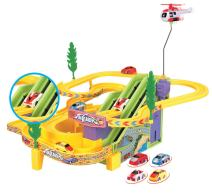 Liberty Imports - New Edition - Track Racer Race Cars Fun Toy Playset for Kids - Battery Operated Sport Racing Vehicles and Helicopter Track Set (NO Music)