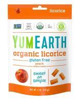 YumEarth Organic Gluten Free Peach Licorice, 5 Ounce, 12 pack