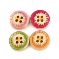 JGFinds Wooden Flower Sewing Buttons - 100 Pack, 4 Holes, 15mm (3/5 Inch), Mixed Colors Chrysanthemum Designs, Scrapbooking, Sewing and Jewelry Making Supplies