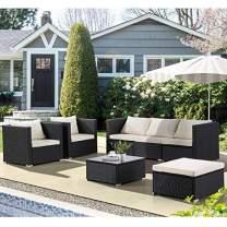 Mecor 7 Piece Outdoor Patio Rattan Wicker Furniture Sets,Furniture Sectional Cushioned Sofa Set &Glass Coffee Table, Garden,Backyard,Lawn Furniture(Black)