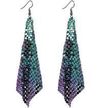 Suyi Trendy Women Earrings Metal Mesh Grid Sequins Tassel Long Drop Dangle Earrings