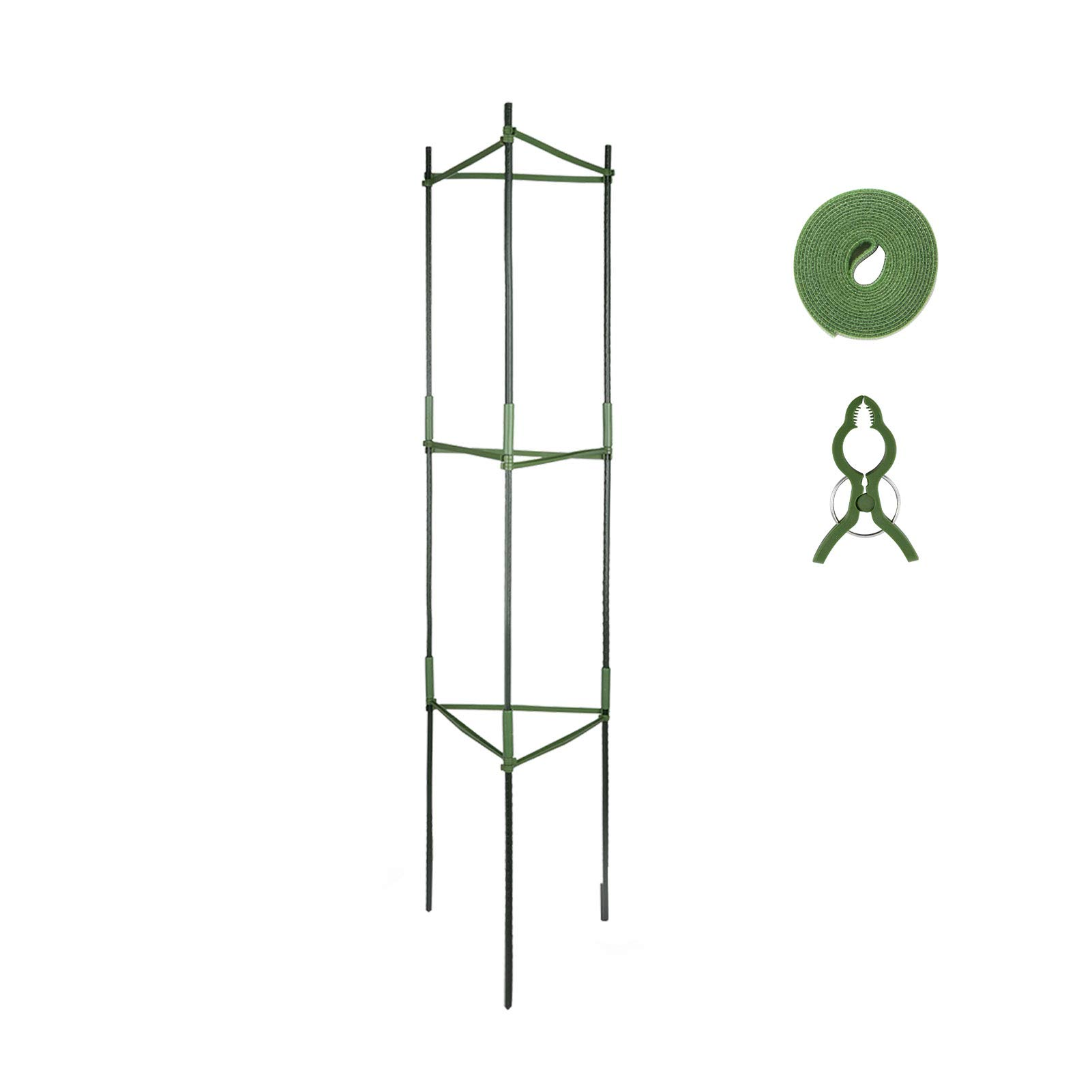 GROWNEER Plant Cages Assembled Tomato Garden Cages Stakes Vegetable Trellis, with 3Pcs Clips and 78 Inches Garden Ties, for Vertical Climbing Plants