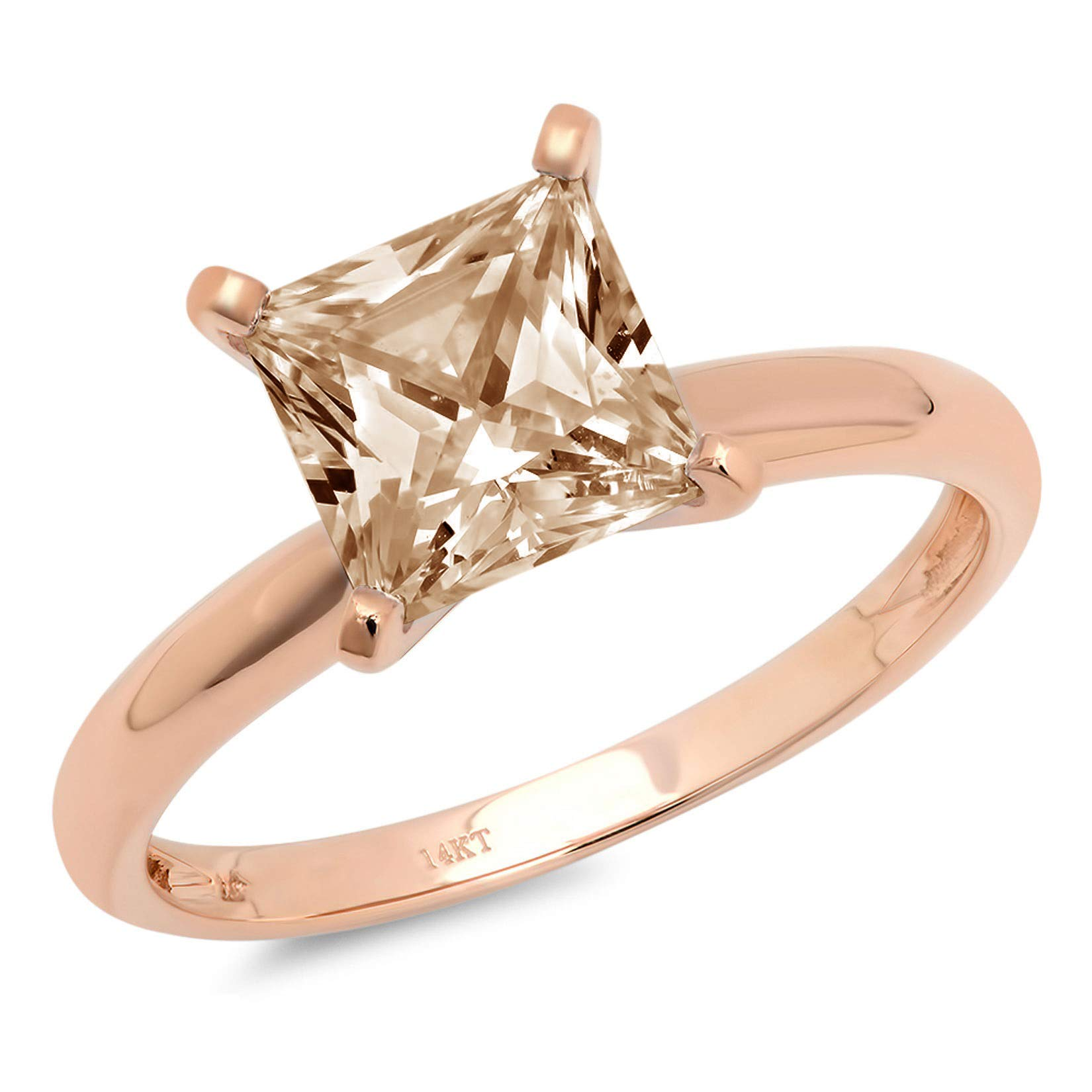 0.45ct Brilliant Princess Cut Solitaire Brown Champagne Simulated Diamond CZ Ideal VVS1 D 4-Prong Classic Designer Statement Ring in Solid Real 14k Rose Gold for Women