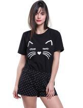 Fancyqube Women's Short Sleeve Cute Cat Print Top and Shorts Soft Pajama Set