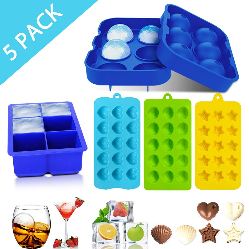 Flamen 5 Pack Ice Cube Trays Easy Release Ice Ball Maker BPA Free for Whiskey Cocktail Candy Chocolate Molds Heart-shaped Pentagram Ice Mold (5 Packs)
