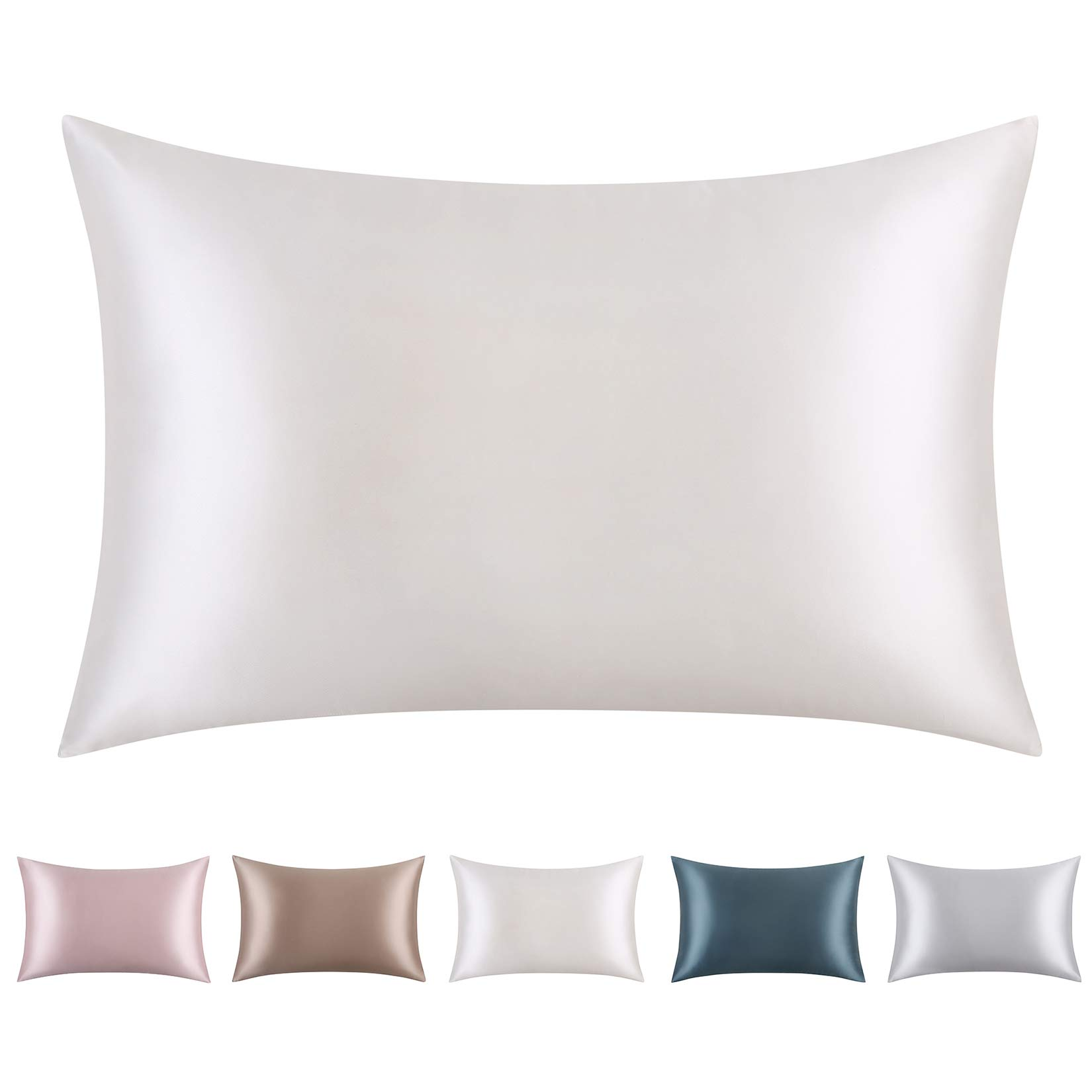 "CAROMIO 100% Pure Mulberry Silk Pillowcase for Skin & Hair, 19 Momme Silk with Hidden Zipper, Soft Breathable Grade 6A Long Fiber Natural Silk Pillow Case, White, Queen 20""x30"""