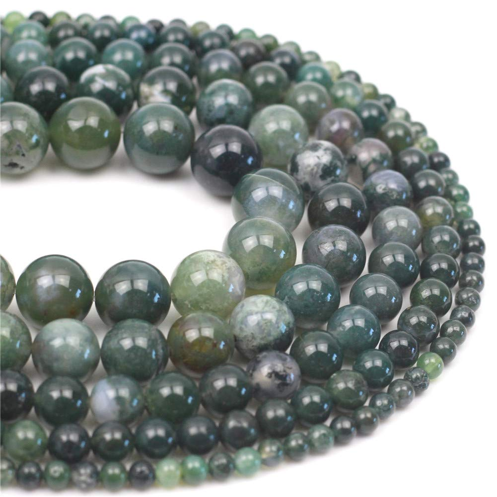 """Oameusa 10mm Natural Water Grass Agate Beads Stone Round Smooth Beads Gemstone Beads Loose Beads Agate Beads for Jewelry Making 15"""" 1 Strand per Bag-Wholesale"""