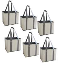 Reusable Grocery Bags Shopping Box with Reinforced Sides and Bottom, Stand Up Design, Heavy Duty Strong Deluxe Tote Collapsible Foldable Color Choice 2 Pack, 3 Pack, 4 Pack, 6 Pack or 12 Pack