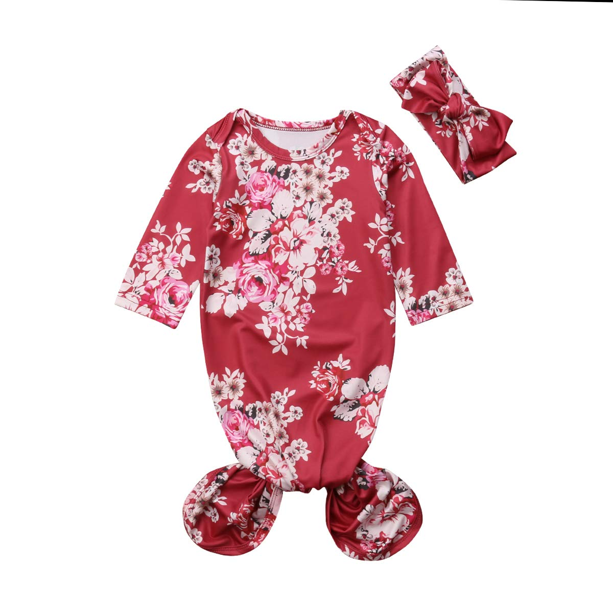 Mubineo Infant Newborn Baby Floral Sleeping Bag Swaddle Blanket with Headband Outfits (Red, 0-6 Months)