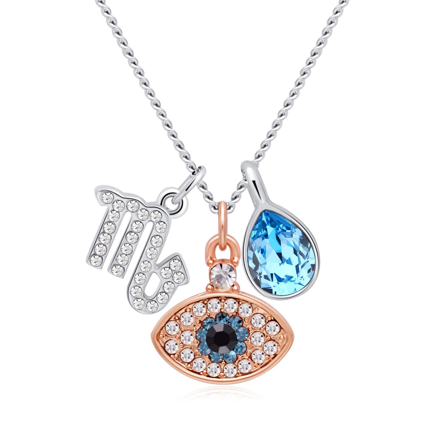OLYSHE Necklace Zodiac Pendant Made with Swarovski 12 Constellations Jewelry for Women,Mother's Day,Birthday Girl, Anniversary Gift,With Gift Box.