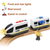 Lebze Battery Operated Action Locomotive Train (Magnetic Connection) - Powerful Engine Bullet Train Set Fits Thomas Brio Wooden Train and Tracks - Toy Train Set for Toddlers