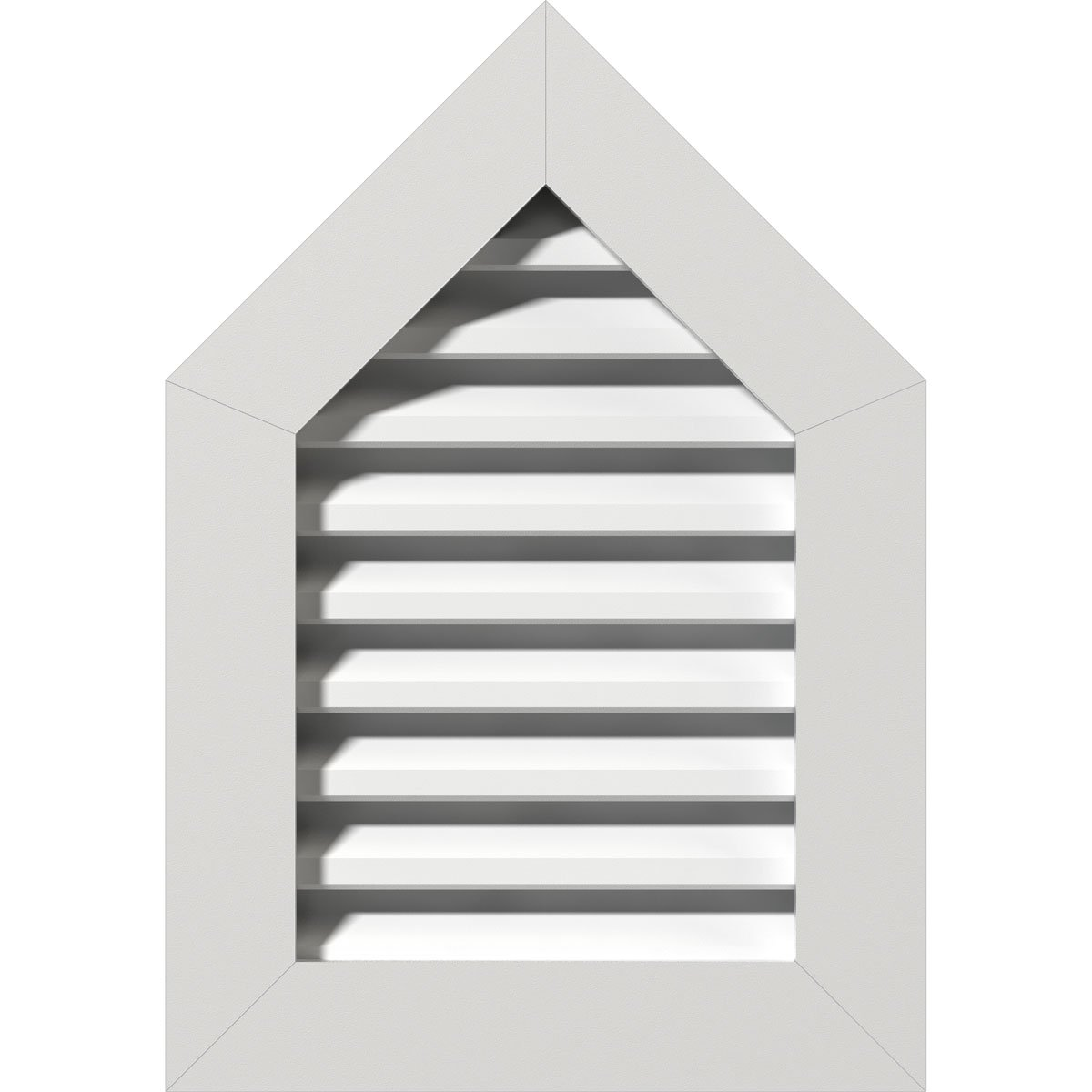 """12""""W x 12""""H Peaked Top Gable Vent (17""""W x 17""""H Frame Size) 10/12 Pitch: Functional, PVC Gable Vent w/ 1"""" x 4"""" Flat Trim Frame"""