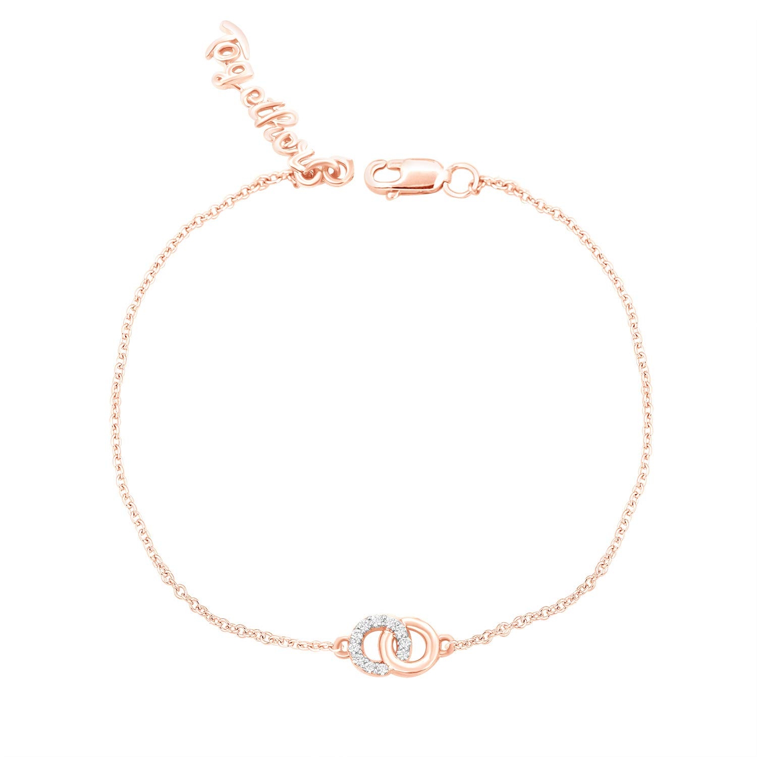CARATS FOR YOU 10K Solid Gold Round Cut Real Natural Diamond, Circle 'Together' Charm 7 inch Chain, Bracelet For Women