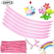 Pink Long Balloons Latex Twisting Magic Balloons 100pcs for Balloon Animal Birthday Party Carnival Wedding Decorations