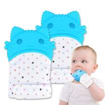 Baby Chew Teething Mitten, Silicone Teething Toys Gloves for Unisex 3-12 Months Baby Shower Gift, Pack of 2 Cat Blue