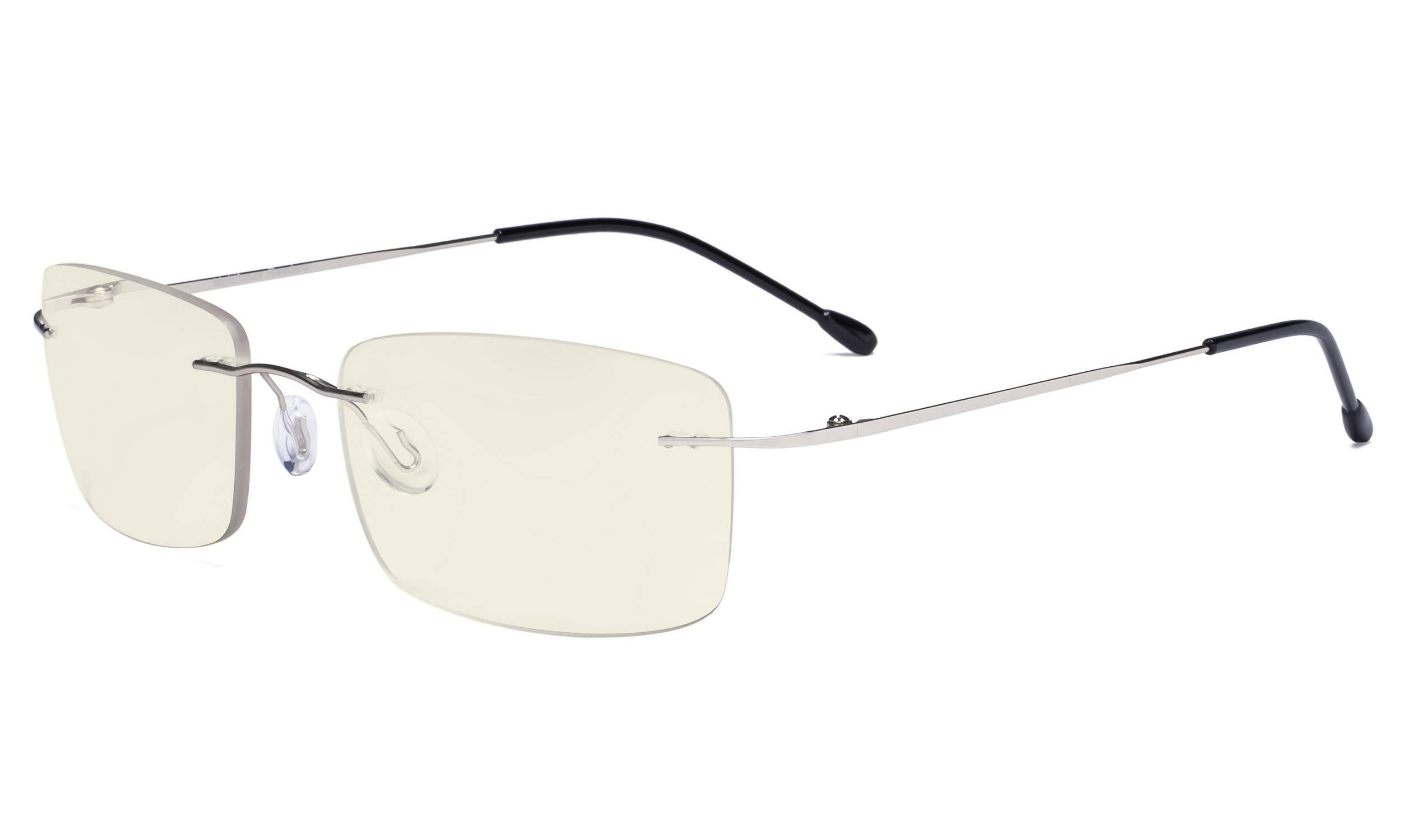 Eyekepper Rimless Progressive Glasses Multifocus Readers Blue Light Filter Reading Eyeglasses Men Women Silver +1.75