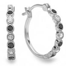 Dazzlingrock Collection 18K Ladies Fine Dainty Hoop Earrings, White Gold