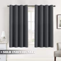 "Blackout Curtain for Bedroom / Living Room Thermal Insulated Energy Efficient Window Treatment Curtain Drapes Draperies Soft Thick Smooth Room Darkening Single Panel 52""W x 63""L, Charcoal Gray"