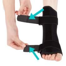 Plantar Fasciitis Night Splint - Drop Foot Support Brace - Dorsal Planter Fasciitis Splints for Right or Left Foot. Support Sleep, Arthritis, Tendonitis, Heel Calf Stretcher, Men & Women (Black)