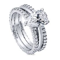 BERRICLE Rhodium Plated Sterling Silver Pear Cut Cubic Zirconia CZ Solitaire Engagement Wedding Ring Set 2.91 CTW