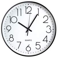 TOHOOYO Wall Clock Silent Non-Ticking,12 Inch Battery Operated Round Clock, Decorative for Home, Living Room, Office, School (Black)