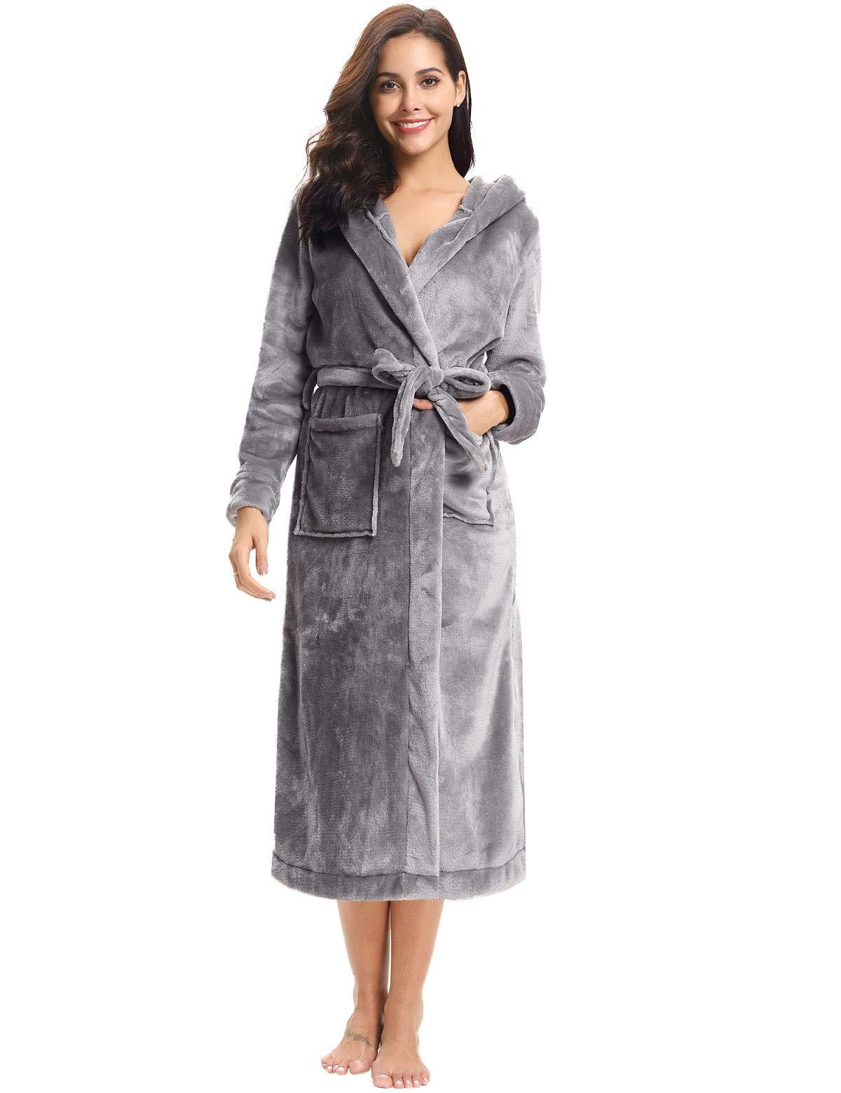Abollria Women Kimono Robes Fleece Bathrobe Unisex Spa Robe Sleepwear