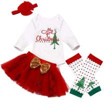 Christmas Newborn Baby Girl Clothes My 1st Christmas Romper + Tutu Shirt +Headband +Leg Warmers 4Pcs Outfit Set