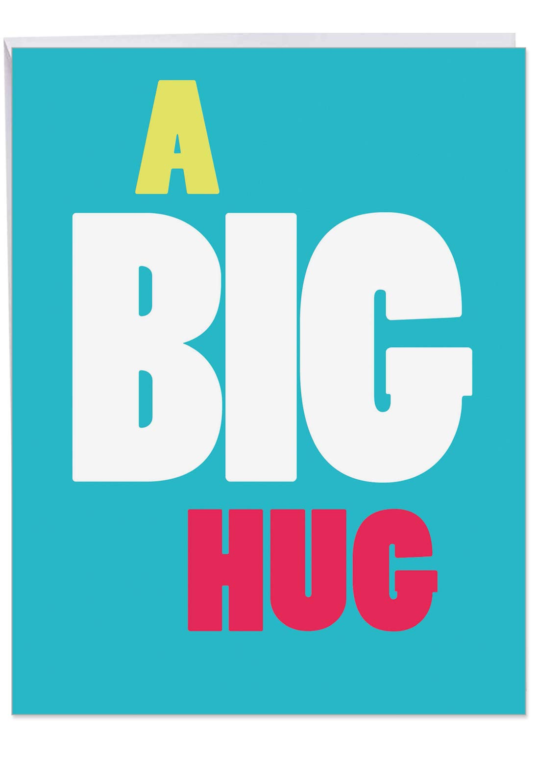 Big Hug - All Occasion Blank Greeting Card with Envelope (Extra Large 8.5 x 11 inch) - Big, Bold and Colorful All-Occasion Blank Card - Share the Love Stationery Notecard J9652