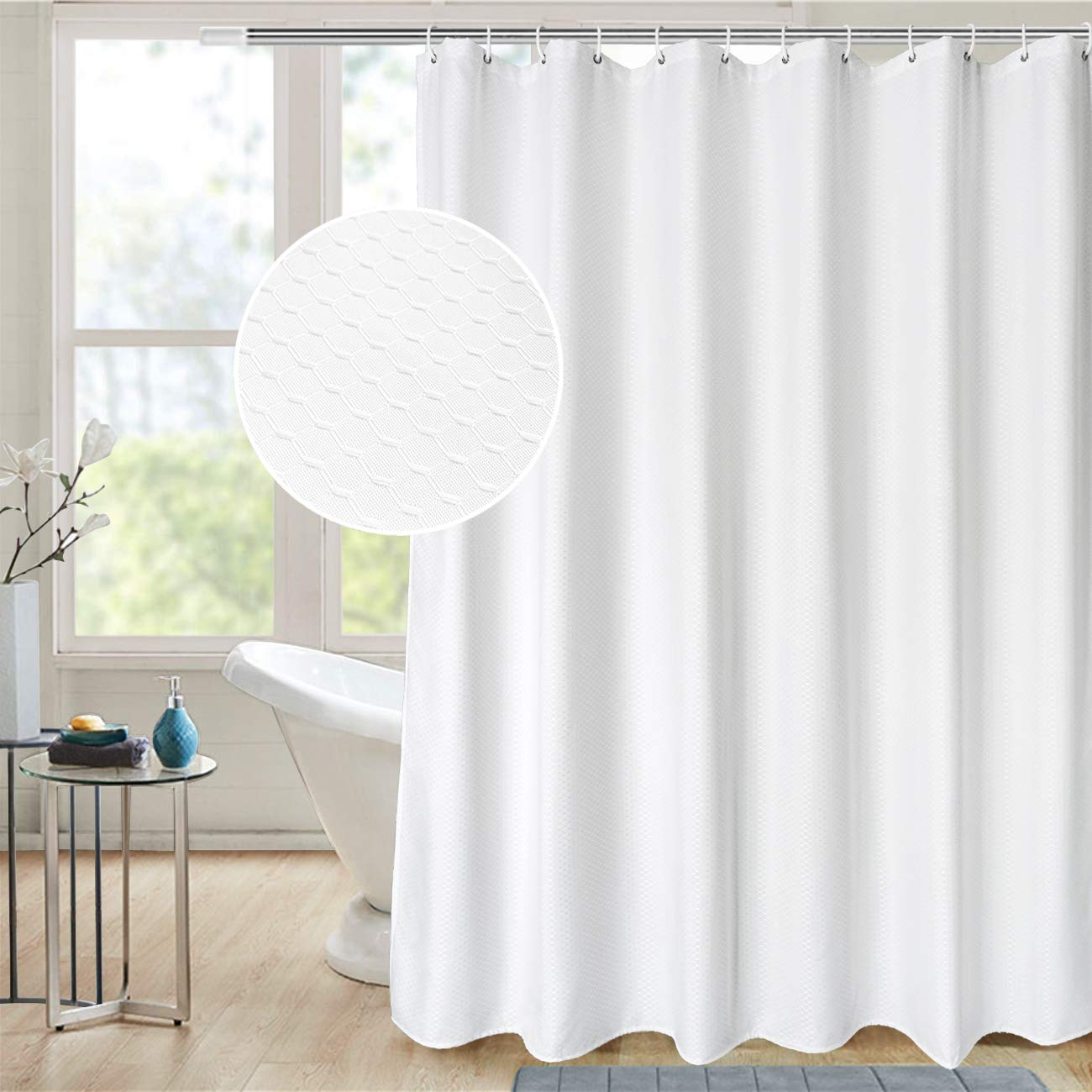 AooHome 72x78 Inch White Shower Curtain, Extra Long Fabric Bathroom Curtain Waffle Weave Design with Hooks, Weighted Hem, Heavy Duty, Water Repellent, 72 Width by 78 Height Inch