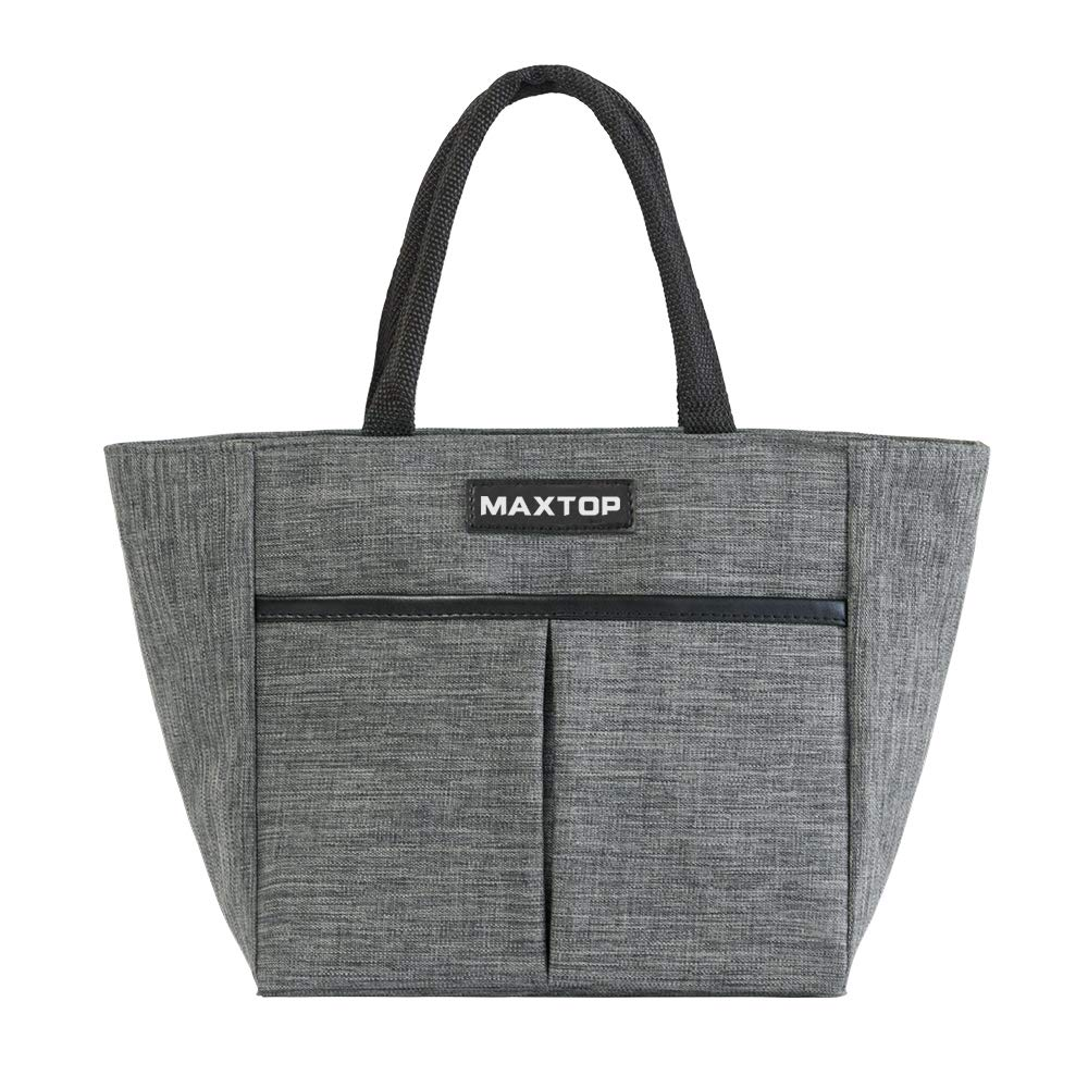 MAXTOP Insulated Lunch Bags for Women,Thermal Lunch Tote Bag with Front Pocket,Perfect Gifts for Women for Office Work Picnic Shoppingl (Grey, Small)