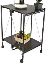 Mind Reader Fold-able 2-Tier All Purpose Metal Mobile Utility Cart, Black