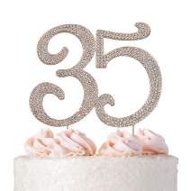 Premium Metal Number 35 Birthday Rose Gold Rhinestone Gem Cake Topper. 35th Bday or Anniversary Party Keepsake and Decoration. Sparkling, Crystal and Diamond Style Bling Is a Great Centerpiece (35 RG)