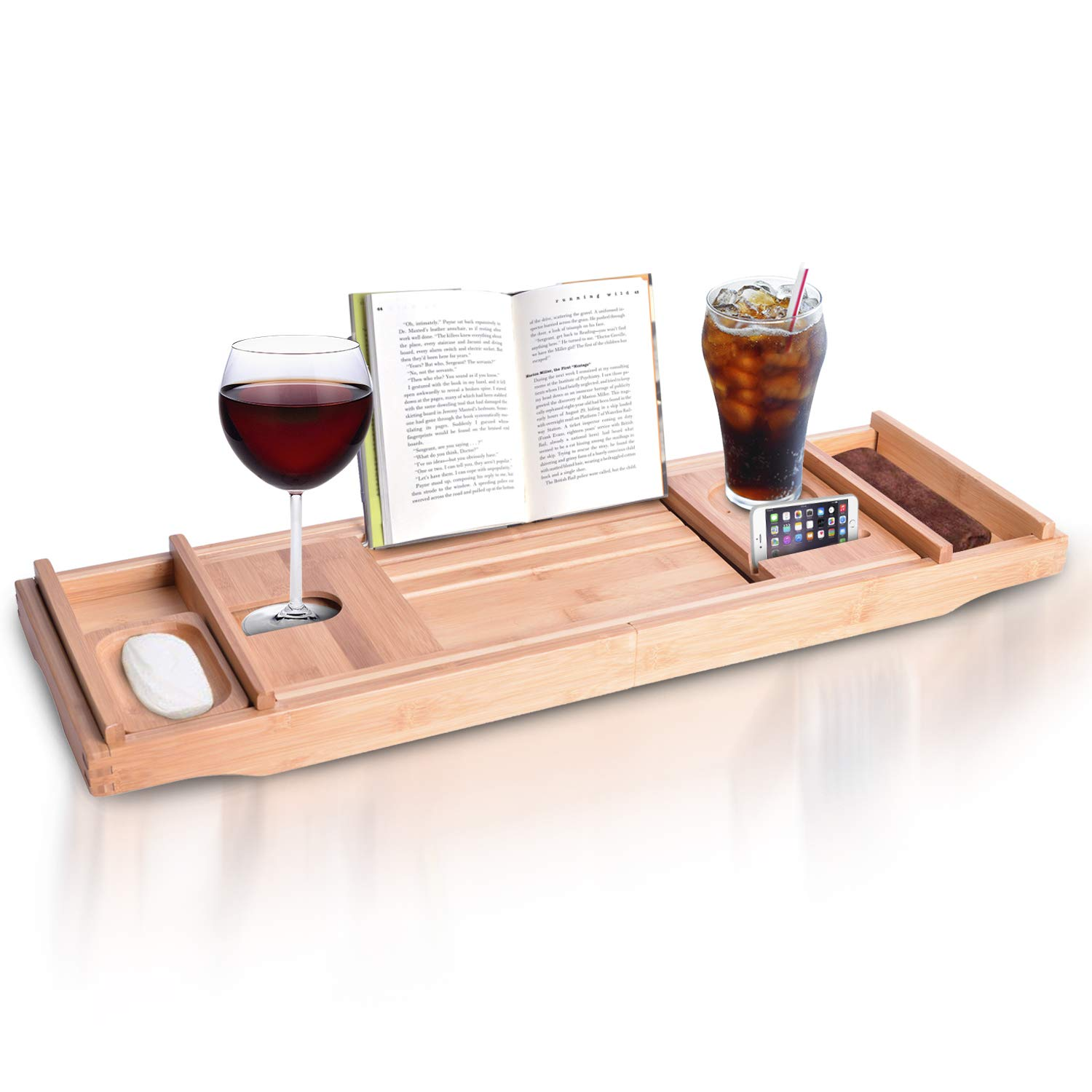 Wooden Bamboo Bath Tray For Tub Organic Bath Caddy As Bathtub Table Tray Caddy Book Holder Wood Bath Trays For Tub With Book Stand Extending Sides Expands Up To 43