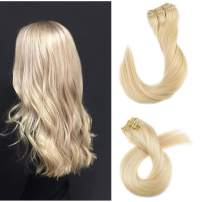 Blonde Clip in Remy Extensions Double Weft Straight Human Hair Clip in Real Extensions 7 Pieces 120G 18 Inch Clip on Full Head for Fashion Women