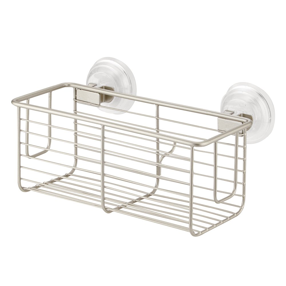 InterDesign Classico Bathroom Shower PowerLock Suction Caddy Basket for Shampoo, Conditioner, Soap - Satin
