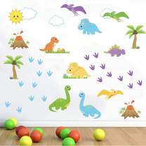 decalmile Colorful Dinosaur Wall Decals Palm Tree Kids Wall Stickers Baby Nursery Kids Bedroom Wall Decor