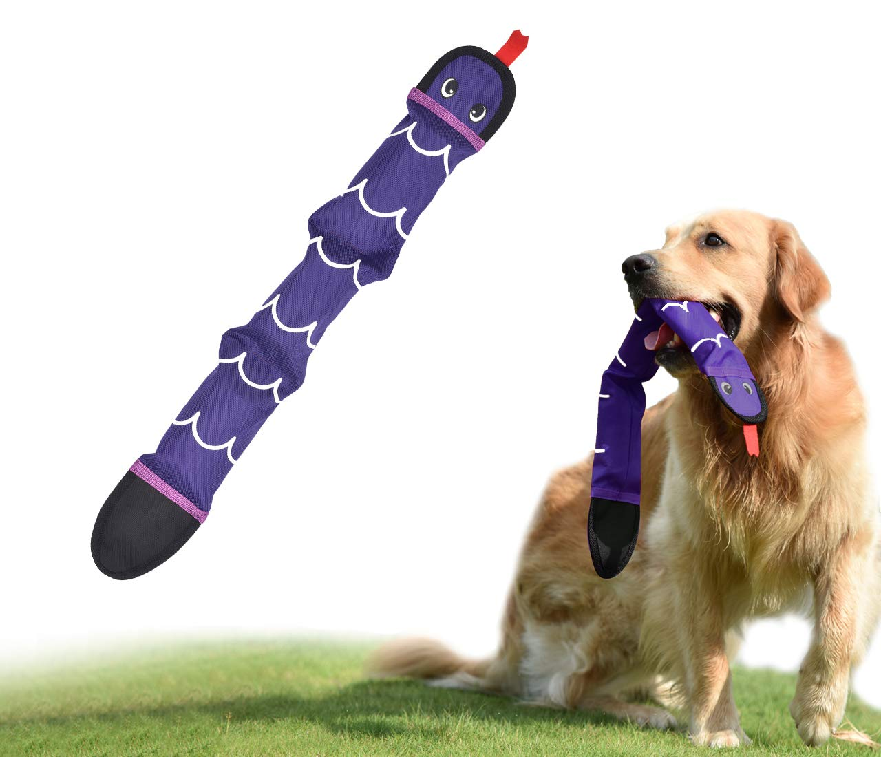 PetLike Squeaky Dog Toy, Snake Chew Toy for Small Medium Dogs, Interactive Durable Squeaky Dog Toy, 3 or 4 Squeakers Inside
