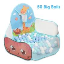 Animal Toddler Basketball Hoop Ball Pit- Include 50 Big Balls of 2.75 Inches -Ocean Ball Play Pen - Baby Toddlers Indoor & Outdoor Play Toy