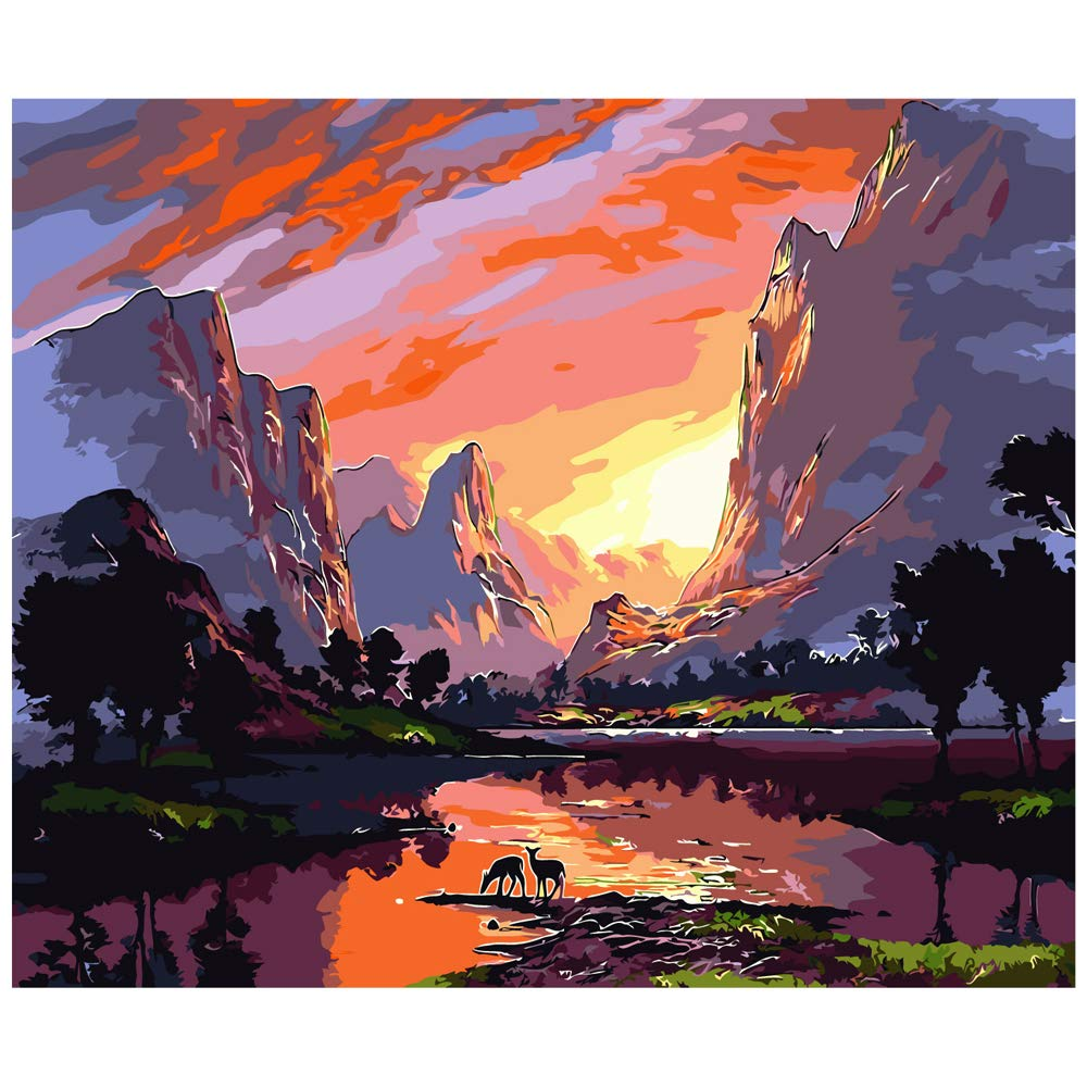 """Various Scenery Series Paint by Numbers for Adults Kids Beginners Easy Acrylic on Canvas 16""""x20""""with Paints and Brushes, Sunset and Landscape(Without Frame)"""
