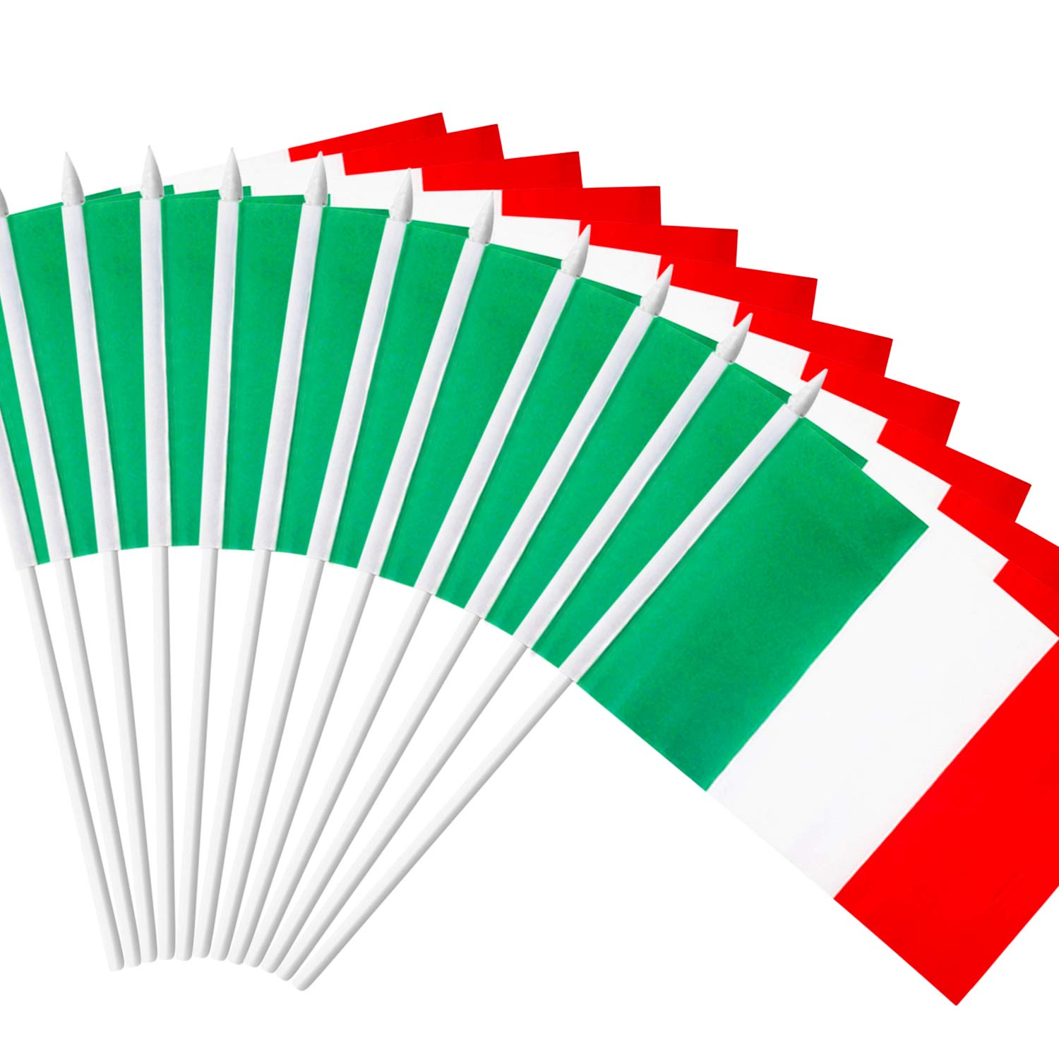 """Anley Italy Stick Flag, Italian 5x8 inch Handheld Mini Flag with 12"""" White Solid Pole - Vivid Color and Fade Resistant - 5 x 8 inch Hand Held Stick Flags with Spear Top (1 Dozen)"""