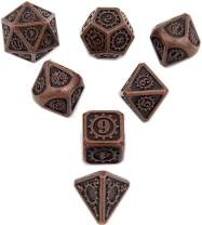 Antique Copper DND Metal Dice with Gear Number 7pcs Set for Dungeons and Dragons RPG MTG Table Games D&D Pathfinder Shadowrun and Math Teaching