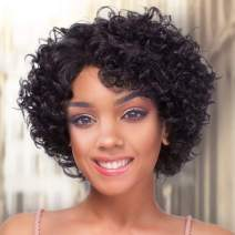 AISI QUEENS Short Curly Wig Afro Human Hair Wigs Black Kinky Curly Wigs for Black Women 150% Density Side Part Natural Looking for Daily Party Use