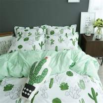 VClife Kid Duvet Cover Twin Green White Tropical Cactus Pattern Bedding Sets for Girl Boy Teens Baby 100% Cotton 3 PCS Botanical Plant Bedding 1 Duvet Cover 2 Pillowcases Twin Spring Summer Bedding