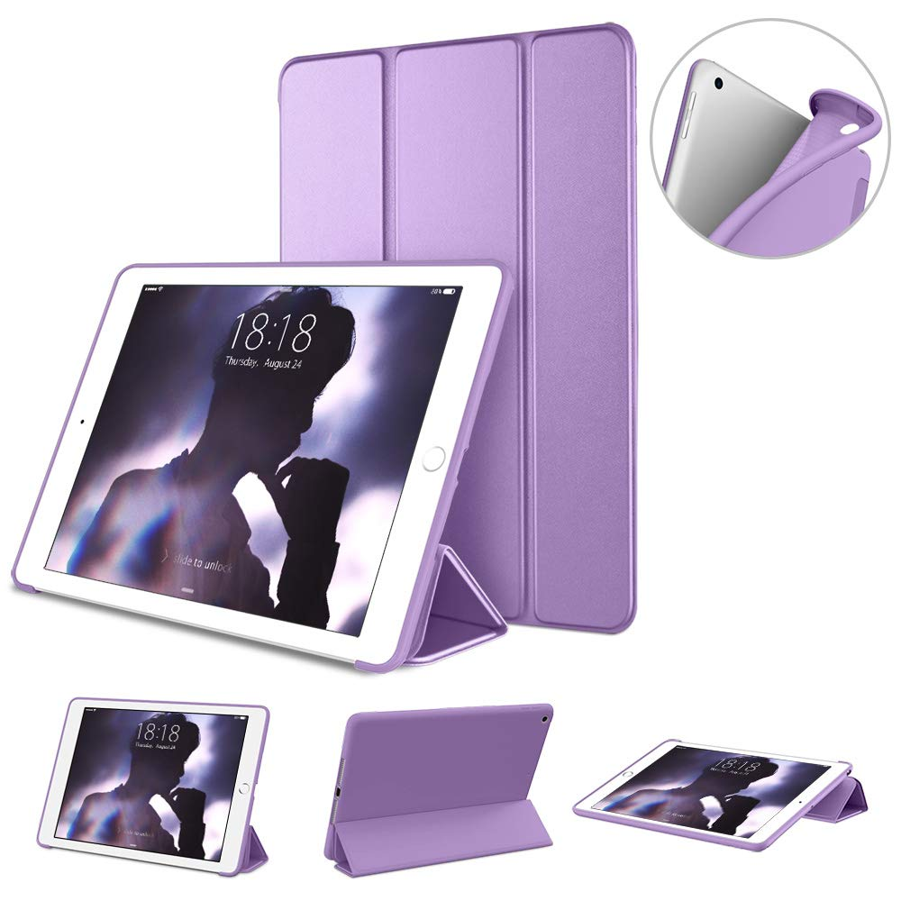 """DTTO Case for New iPad 7th Generation 10.2"""" 2019, [Gentle Series] Slim Fit Lightweight Smart Trifold Stand with Soft TPU Back Cover for Apple iPad 10.2 inch 2019 Released [Auto Sleep/Wake], Purple"""